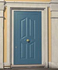 porta blindata azzurra