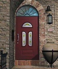 porta da esterno marrone con muro in pietra
