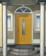 porta da esterno gialla con dye colonne