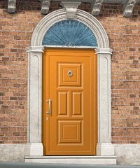 porta da esterno gialla con pannelli in vetro