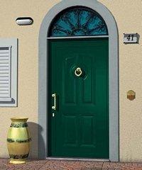 porta da esterno verde con portico a vetri