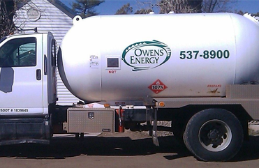 Owens Energy's propane gas delivery truck in Show Low, AZ