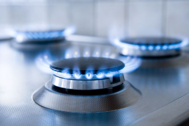 Blue flames of natural gas burners