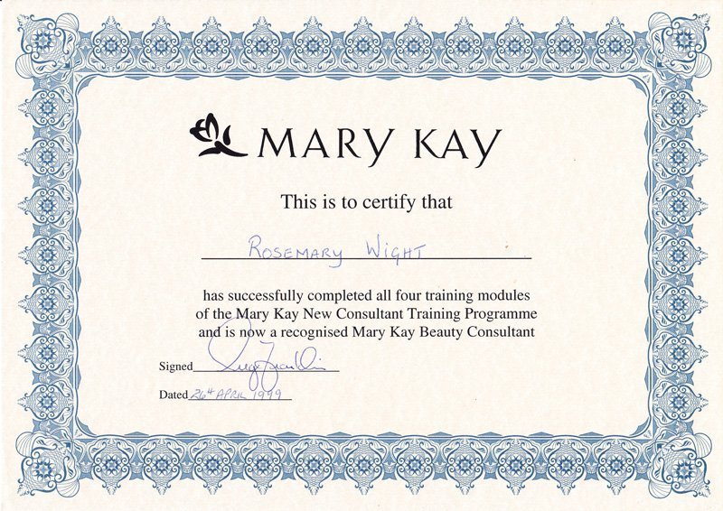 Mary Kay certificate