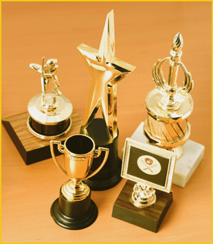 A range of gold cups and awards