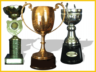 Assorted presentation cups, gold silver and bronze