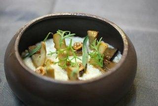 risotto bianco, cardoncelli e kikuna