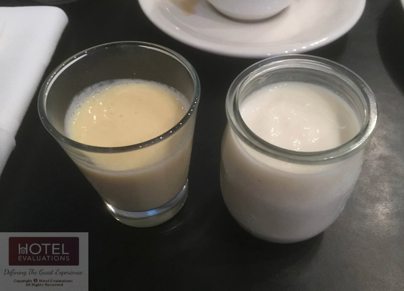 View of high quality milk products served to customer