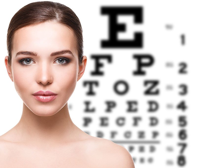 Woman and eye chart on background