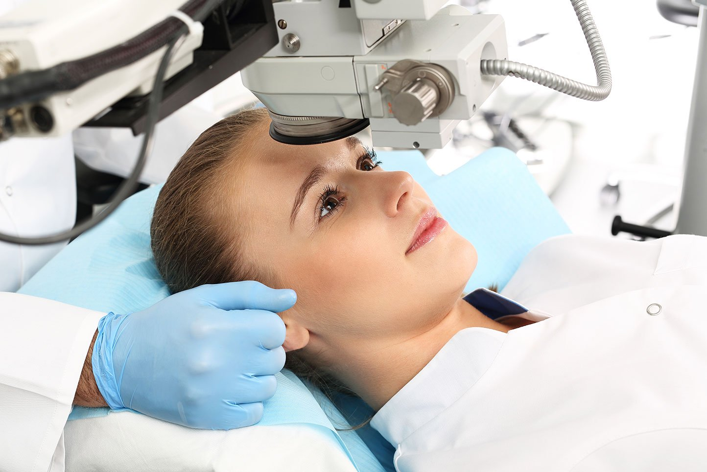 A patient in the operating room during ophthalmic surgery