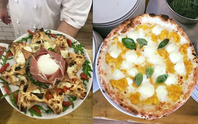 Pizza girandola e pizza bianca di mozzarella
