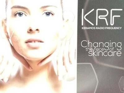 una brochure con un viso di una donna sulla sinistra e sulla destra una scritta KRF