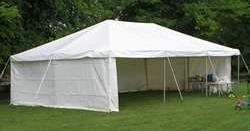 20x20 foot tent with plain side walls