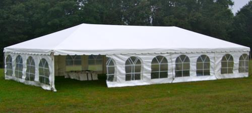 50 Ft x 50 Ft Tent Also available are 40 Ft x 60 Ft  40 Ft x 80 Ft  40 Ft x 100 Ft THESE SIZE TENTS MUST BE DELIVERED Call 336-841-7368 For Price Quote & rental costs