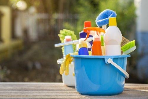 bacinelle con prodotti per la casa