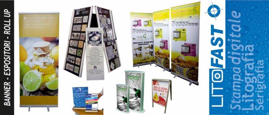Espositori, banner, roll up e articoli per la pubblicità