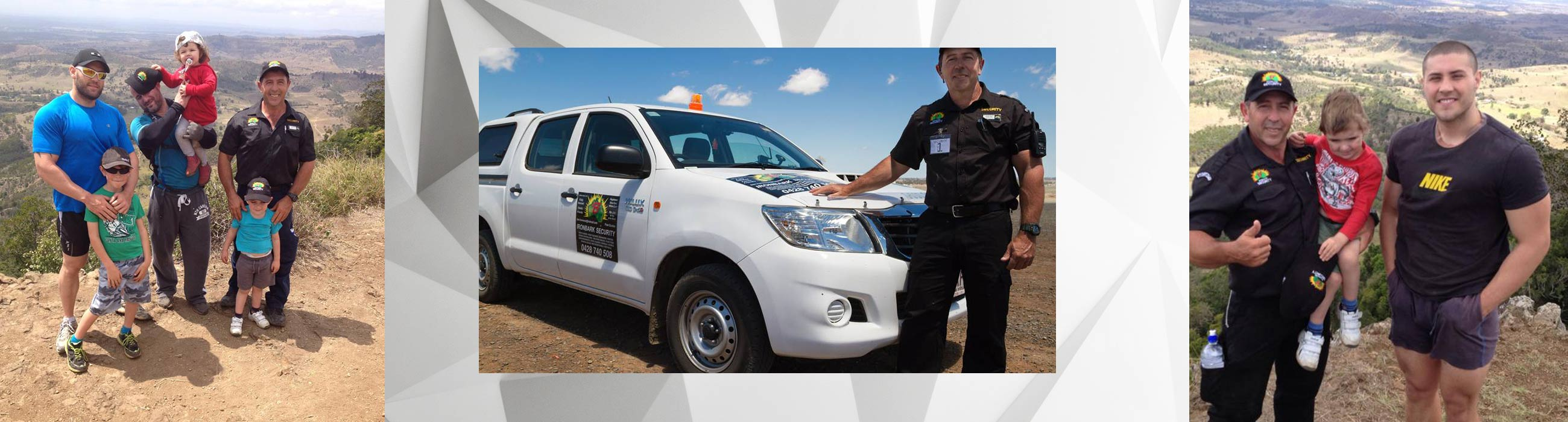 ironbark security service with business vehicle and customer
