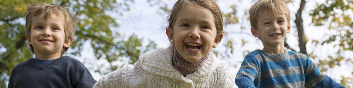 hopskotch kindergarten cheerful children outdoors