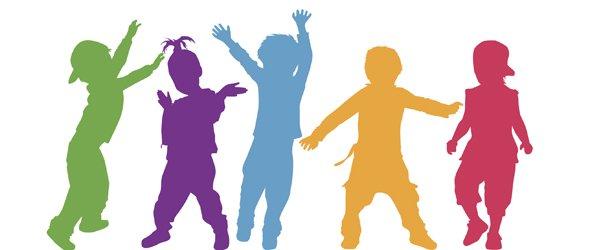 hopskotch kindergarten children silhouettes in colour