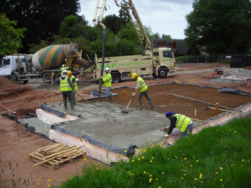 Concrete can be poured into the ISOQUICK The Insulated Raft using a crane or concrete pump, as shown here, without need for further shuttering.
