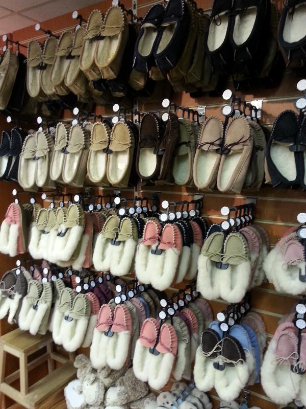 Sheepskin slippers, mocassins