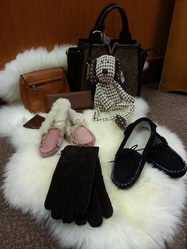 Sheepskin slippers, handbags, Haverfordwest