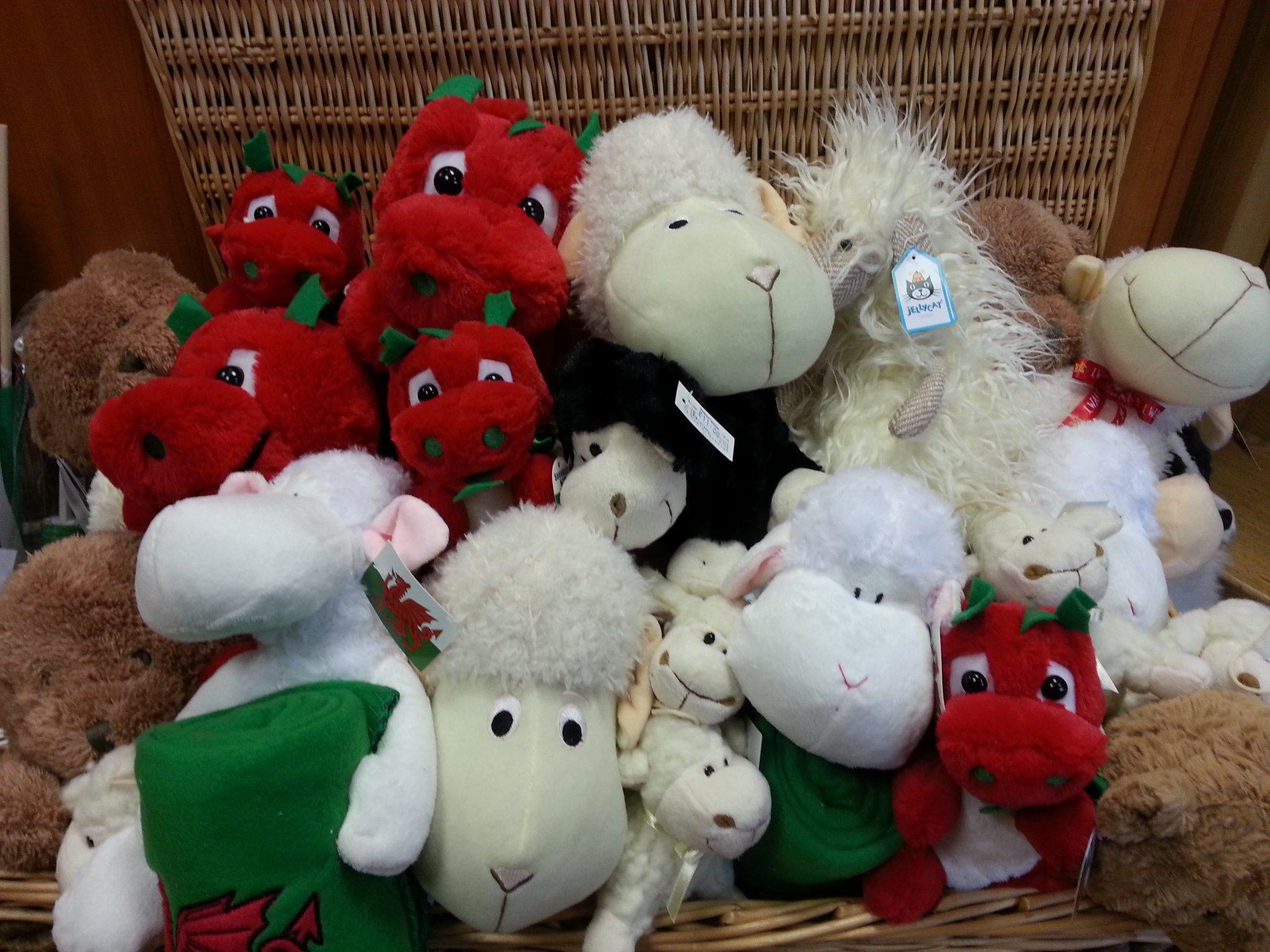 cuddly toys, dragons, sheep