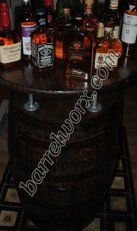 Whiskey Barrel Bistro Table Liquor Cabinet With Double Lazy Susans U0026 Double  Doors   $925