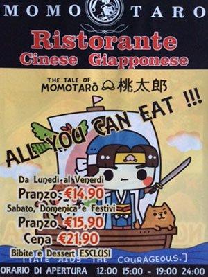 un volantino con scritto Momo Taro ristorante cinese Giapponese