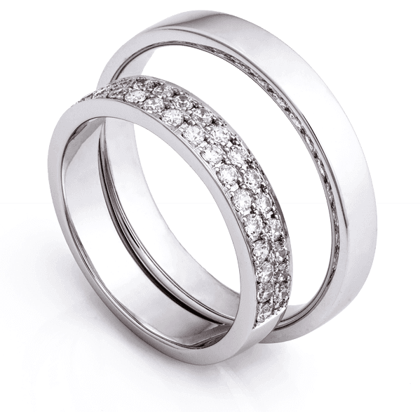 two custom platinum diamond rings