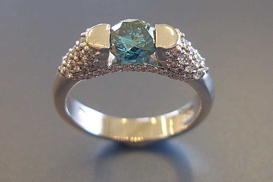 inset blue stone ring