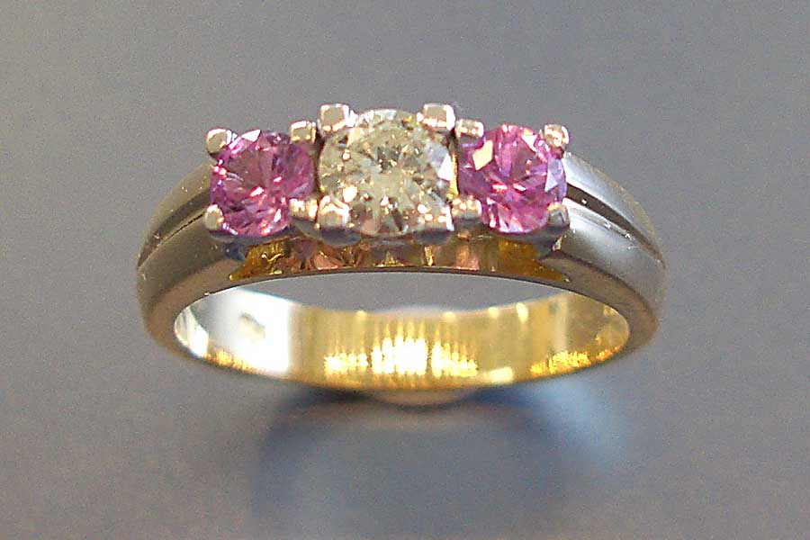 ring with pink and clear stones