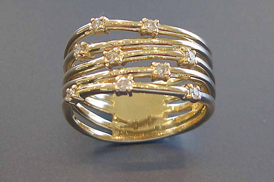 many strand gold ring