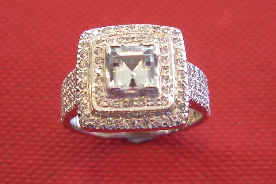 square-cut diamond ring with diamond accents