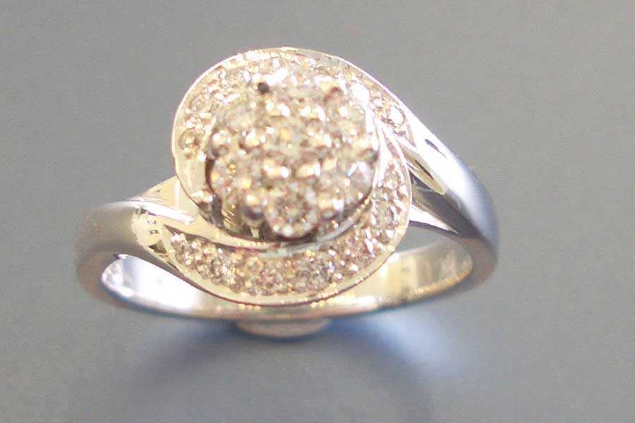 diamond ring with floral theme