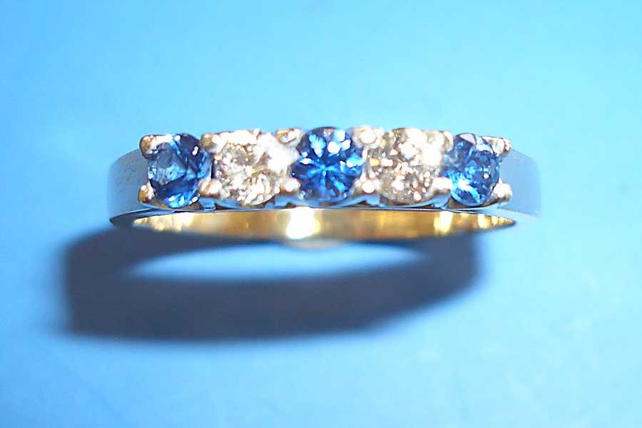 ring with diamonds and sapphires