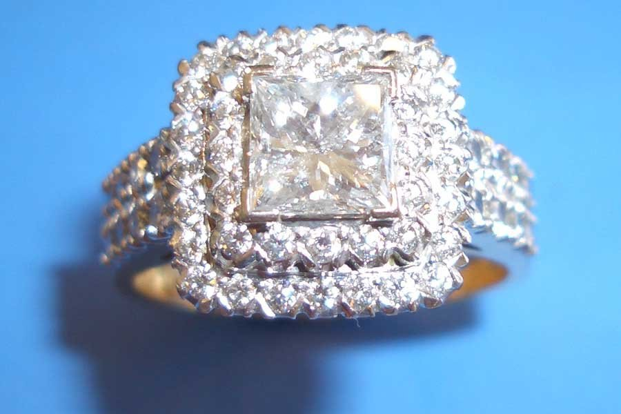 square diamond with two rows of diamond accent