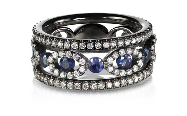 sapphire and diamond cocktail ring on white background