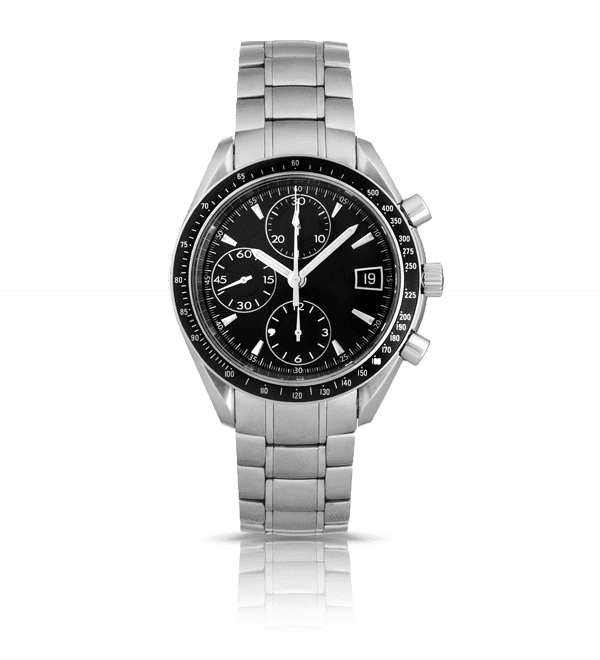 silver watch with black face and three complications