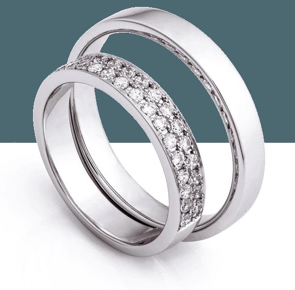 two custom platinum diamond rings