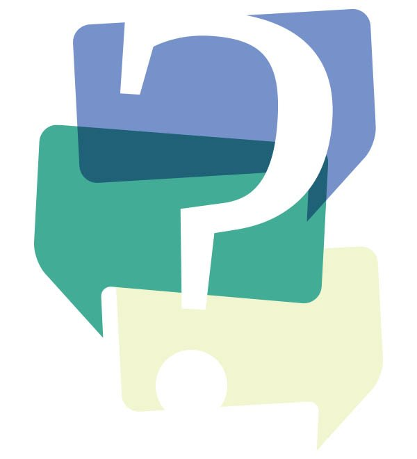 question mark in coloured speech bubbles