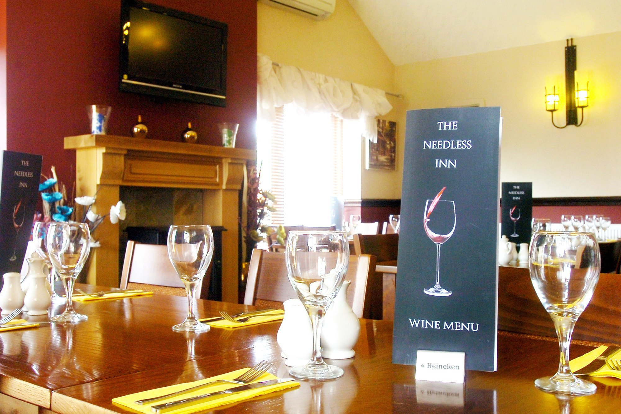 View the wine menu on table at the Needless Inn