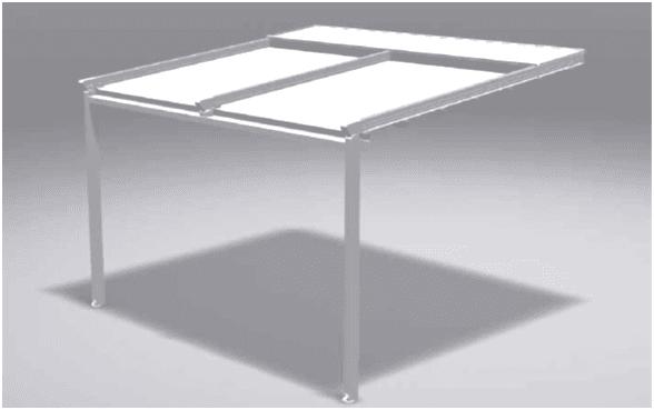 disegno 3d in bianco e grigio di tenda da sole