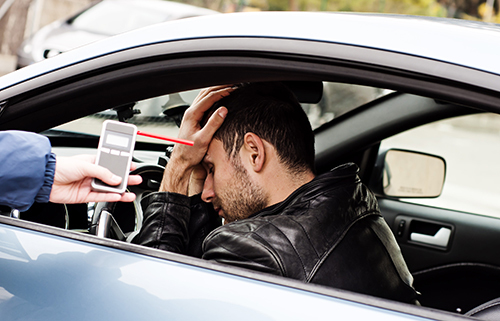 Driver being tested for drinking and driving