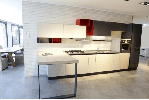 Cucina moderna mod. Replay - bianco lucido e pino basalto.