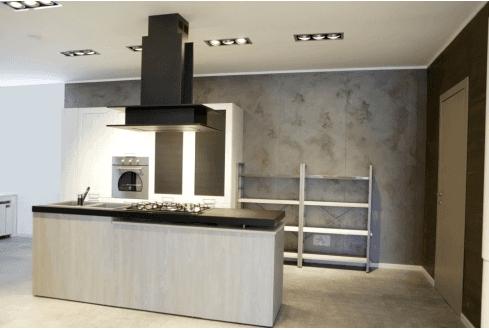 Cucina contemporanea mod. City - stile garage colore rovere bianco e rovere brizzo.