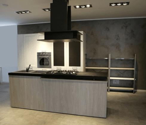 Cucina contemporanea mod. City - stile garage colore rovere bianco e rovere brizzo