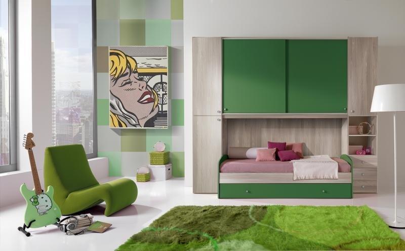 cameretta verde e legno