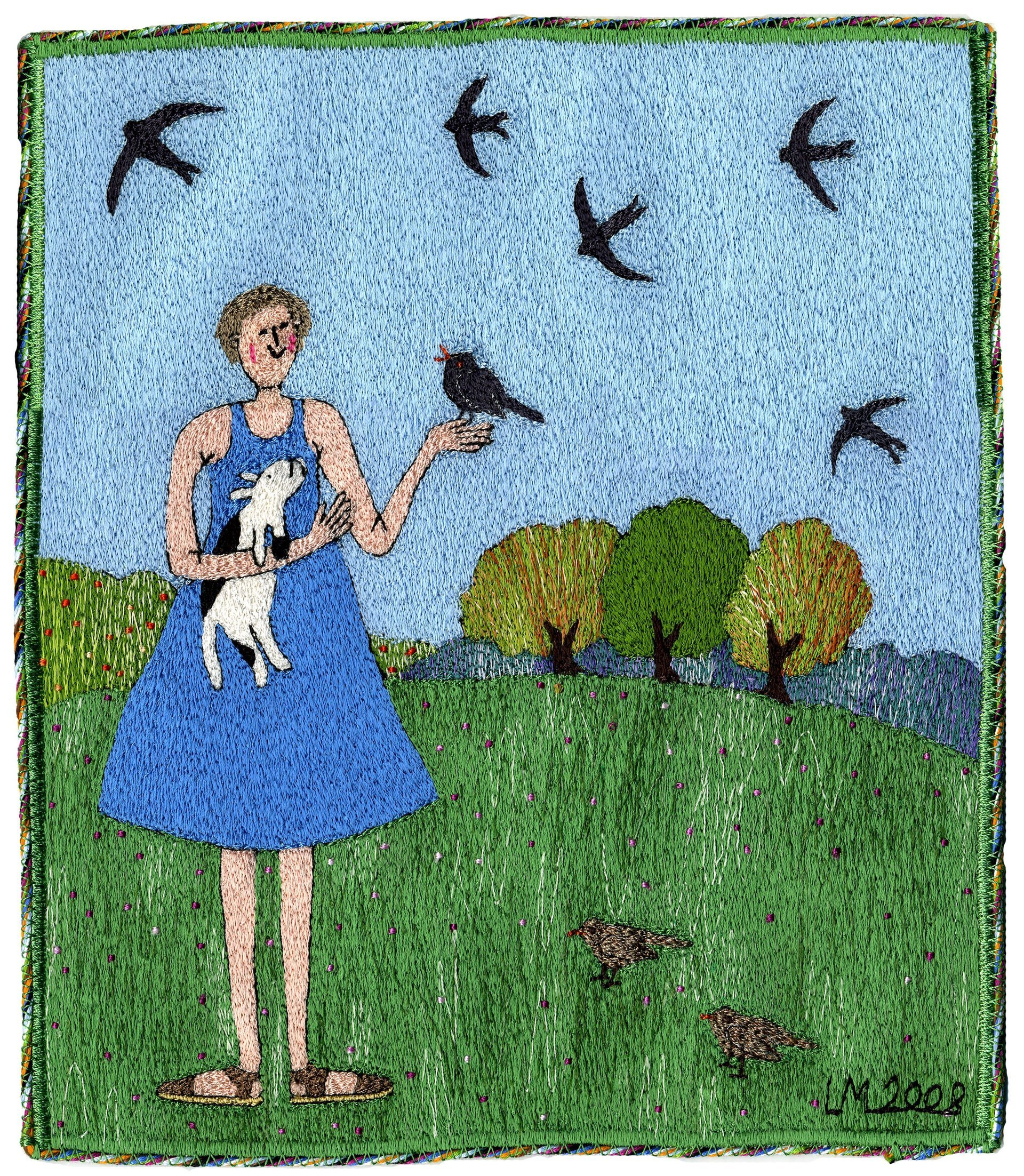 The Birds Sing Out Your Name. Machine embroidery by Linda Miller