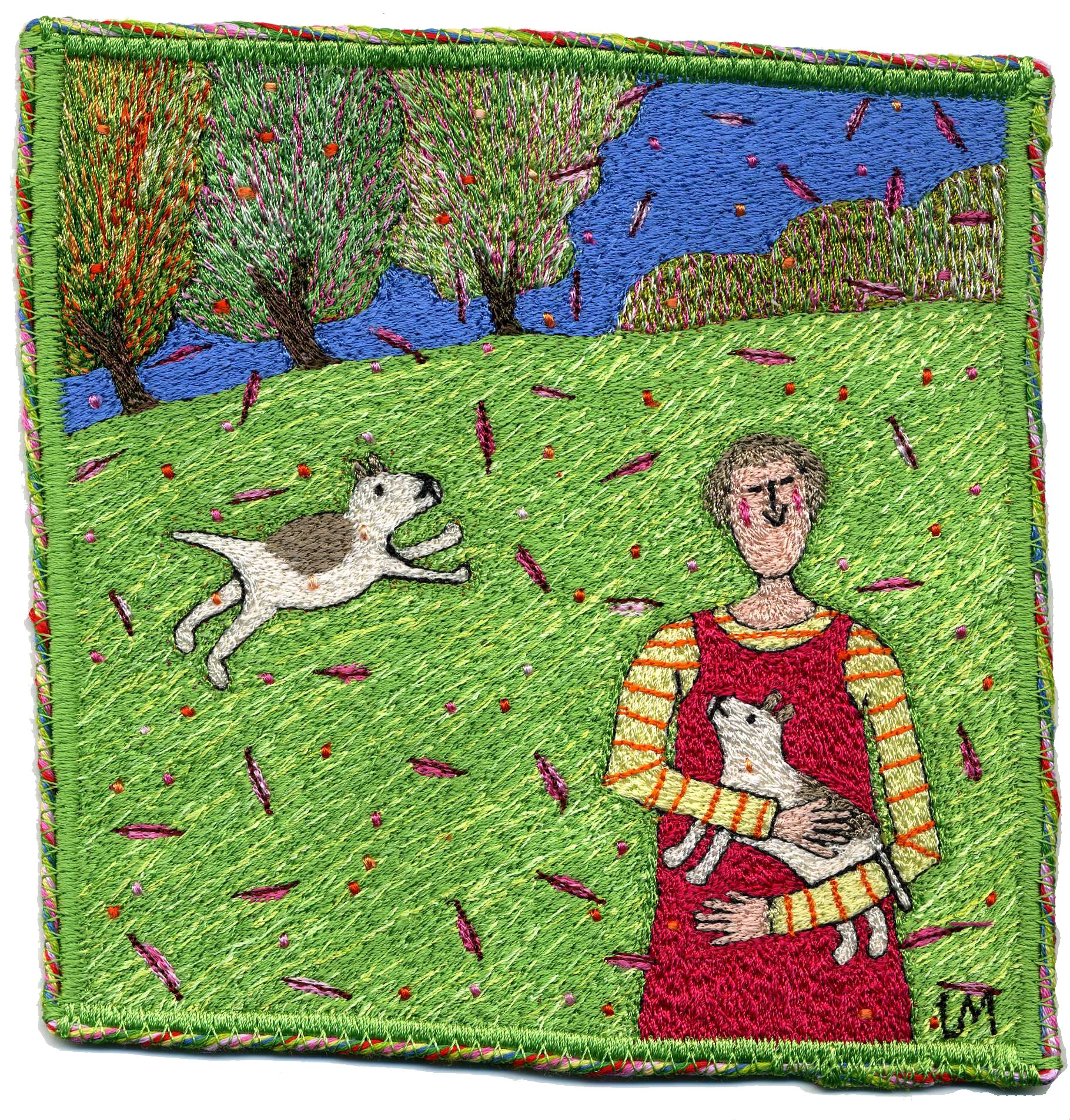 Girl with Two Dogs. Machine embroidery by Linda Miller